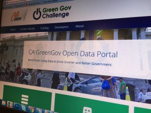 computer screen showing greengov open data portal website